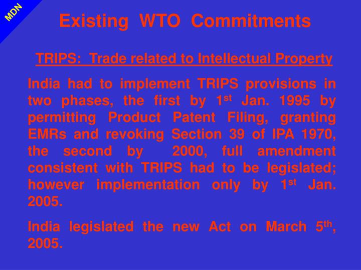 Existing  WTO  Commitments