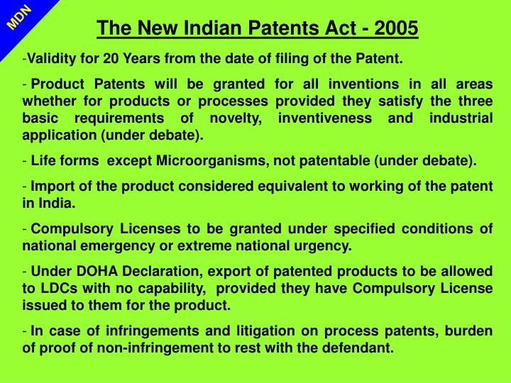 The New Indian Patents Act - 2005