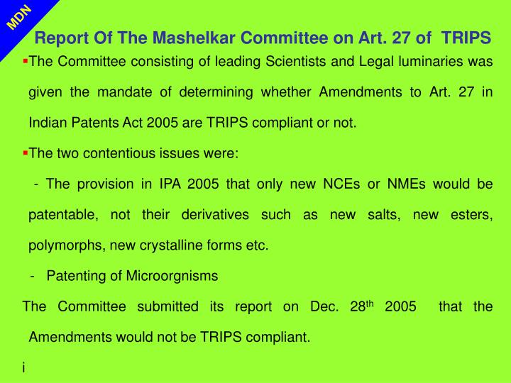 Report Of The Mashelkar Committee on Art. 27 of  TRIPS