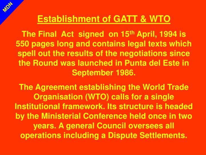 Establishment of GATT & WTO