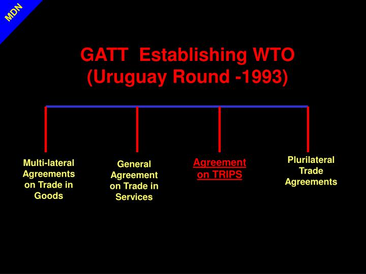 GATT  Establishing WTO (Uruguay Round -1993)
