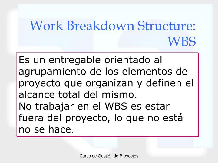 Work Breakdown Structure: WBS