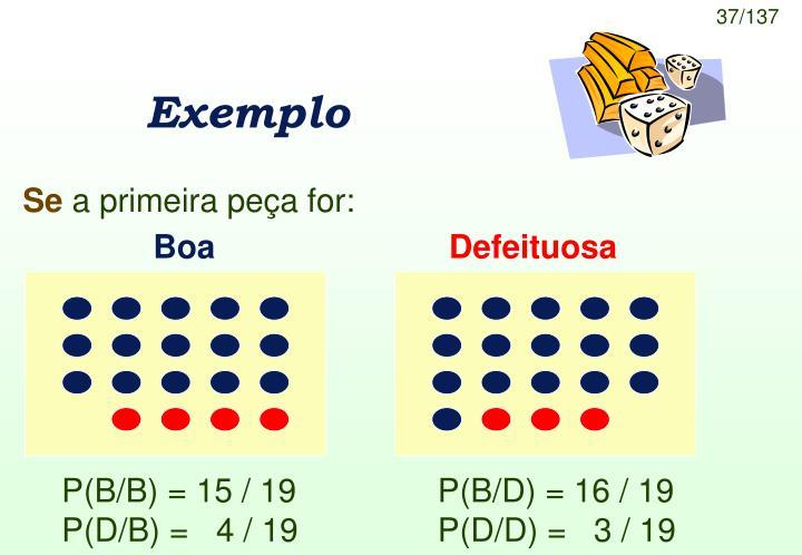 P(B/B) = 15 / 19