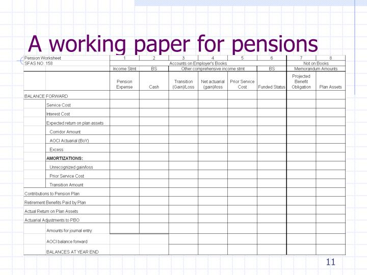 A working paper for pensions