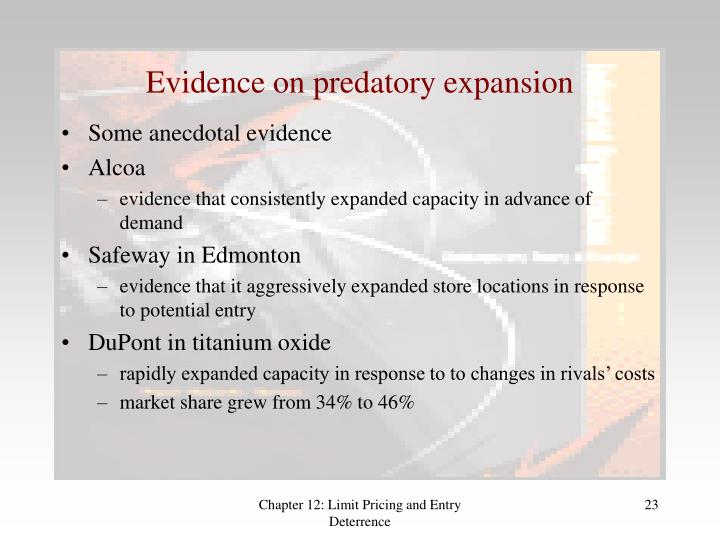 Evidence on predatory expansion
