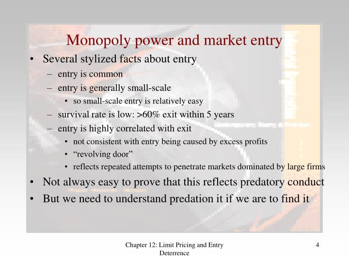 Monopoly power and market entry