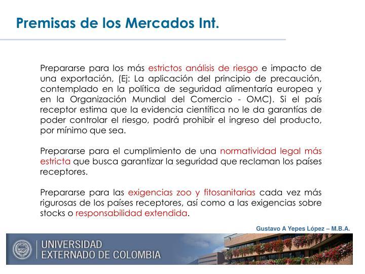Premisas de los Mercados Int.