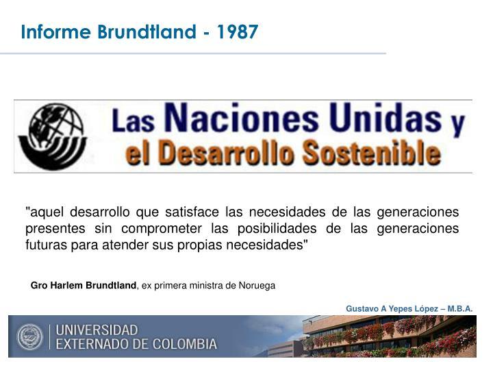 Informe Brundtland - 1987