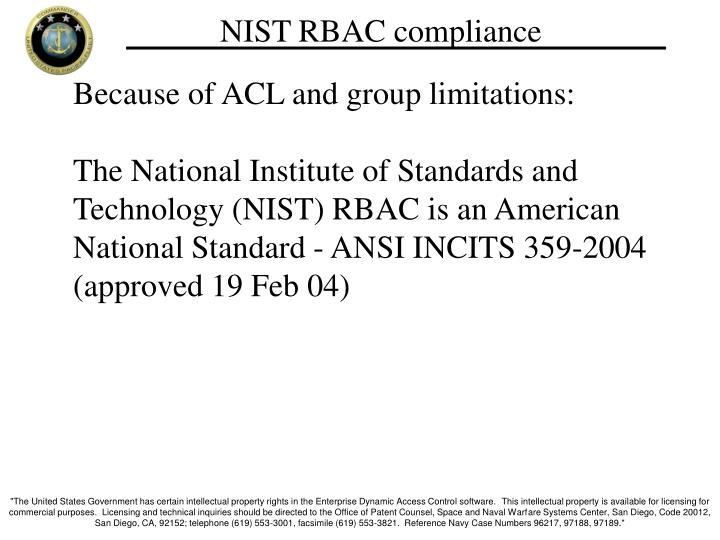 NIST RBAC compliance