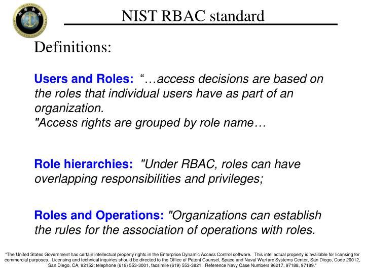 NIST RBAC standard