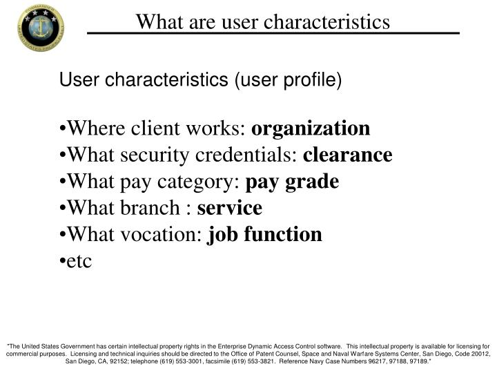 What are user characteristics