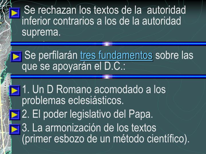 Se rechazan los textos de la  autoridad inferior contrarios a los de la autoridad suprema.