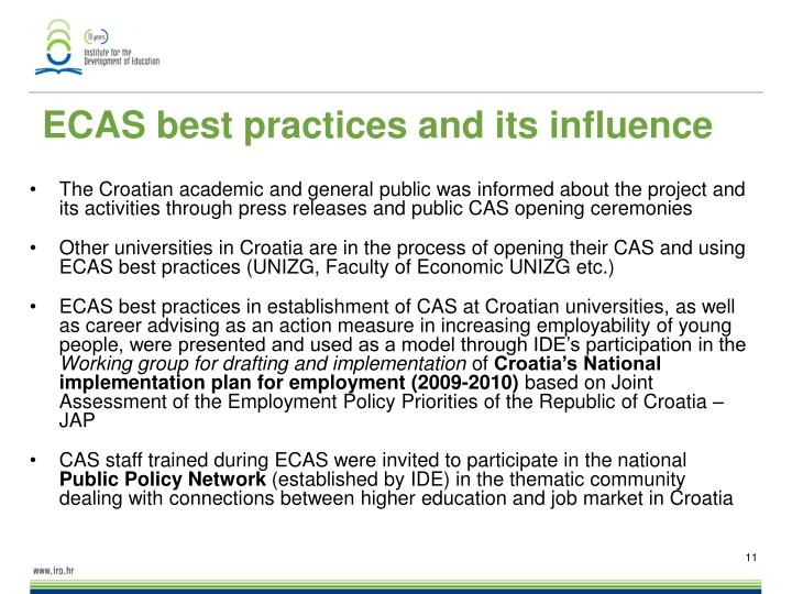 ECAS best practices and its influence