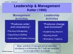 leadership management kotter 1990
