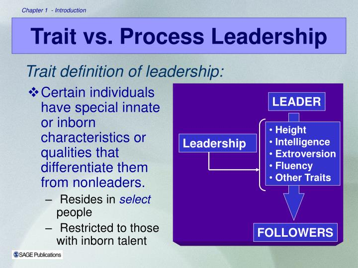 Certain individuals have special innate or inborn characteristics or qualities that differentiate them from nonleaders.
