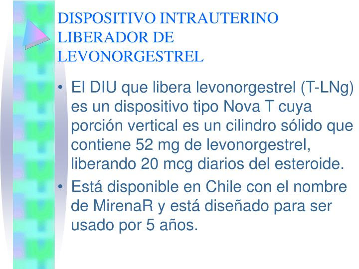 DISPOSITIVO INTRAUTERINO LIBERADOR DE