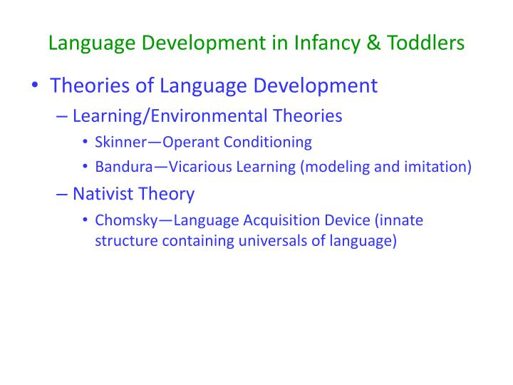 theories of play development and learning Piaget's (1936) theory of cognitive development explains how a child constructs a mental model of the world he disagreed with the idea that intelligence was a fixed trait, and regarded cognitive development as a process which occurs due to biological maturation and interaction with the environment.