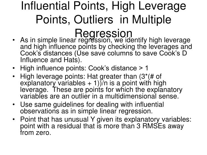 Influential Points, High Leverage Points, Outliers  in Multiple Regression