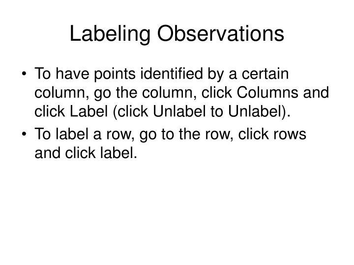 Labeling Observations
