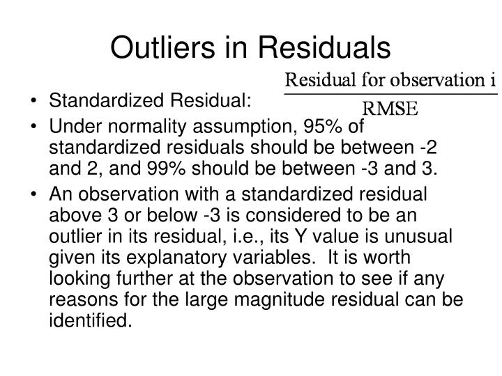 Outliers in Residuals