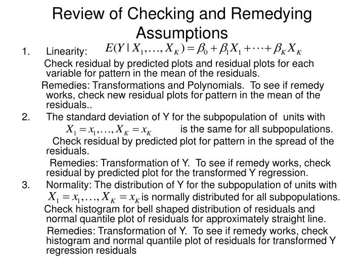 Review of Checking and Remedying Assumptions