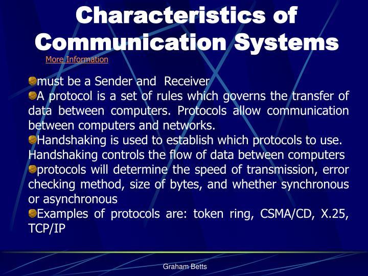 Characteristics of Communication Systems