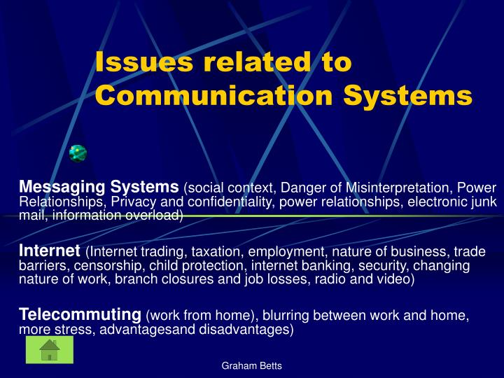 Issues related to Communication Systems
