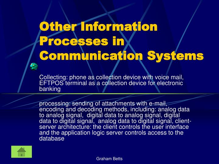 Other Information Processes in Communication Systems