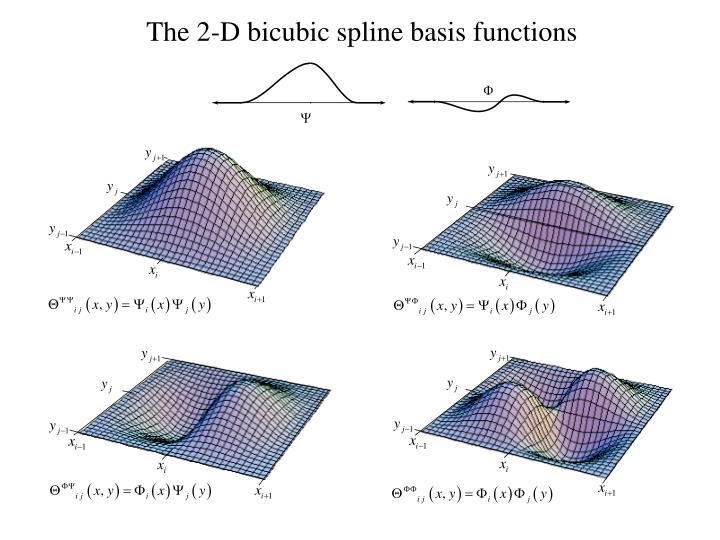 The 2-D bicubic spline basis functions