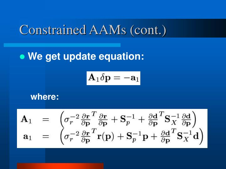 Constrained AAMs (cont.)