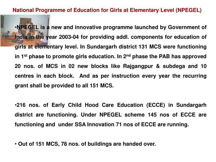 National Programme of Education for Girls at Elementary Level (NPEGEL)
