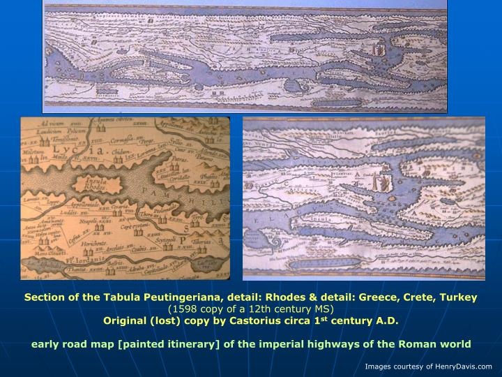 Section of the Tabula Peutingeriana, detail: Rhodes & detail: Greece, Crete, Turkey