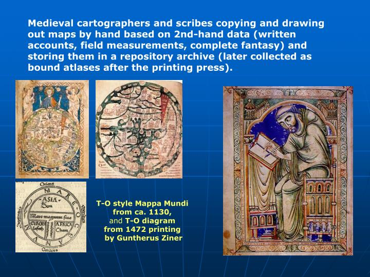 Medieval cartographers and scribes copying and drawing out maps by hand based on 2nd-hand data (written accounts, field measurements, complete fantasy) and storing them in a repository archive (later collected as bound atlases after the printing press).
