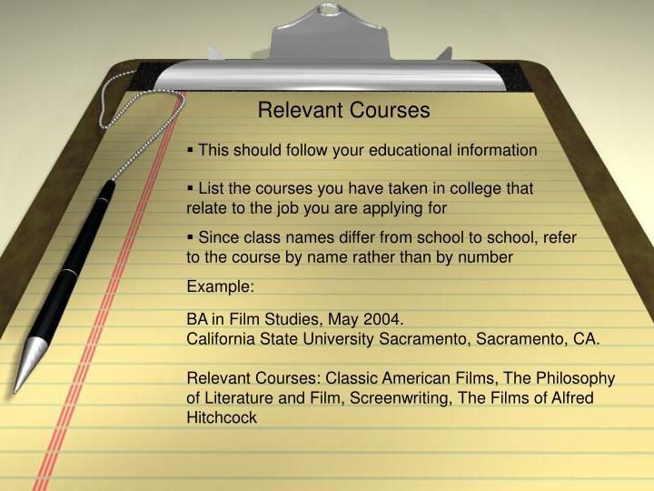 Relevant Courses