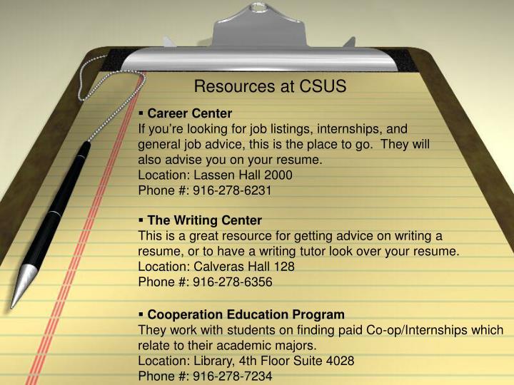 Resources at CSUS