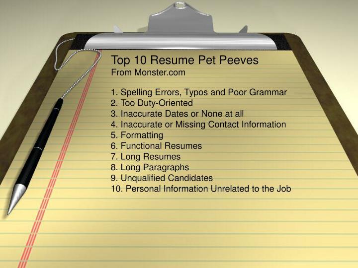 Top 10 Resume Pet Peeves