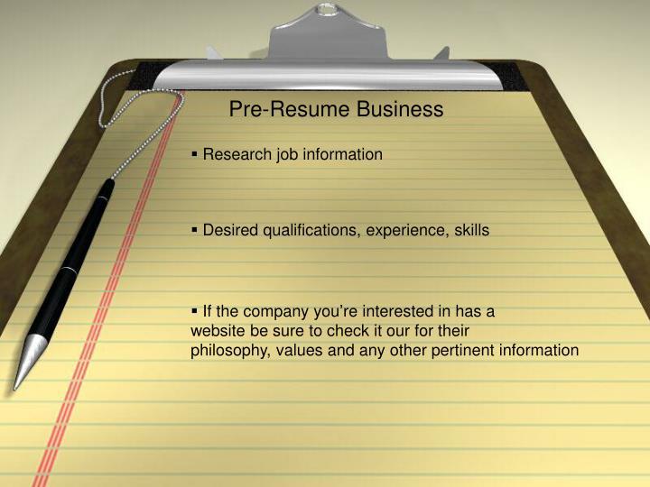 Pre-Resume Business