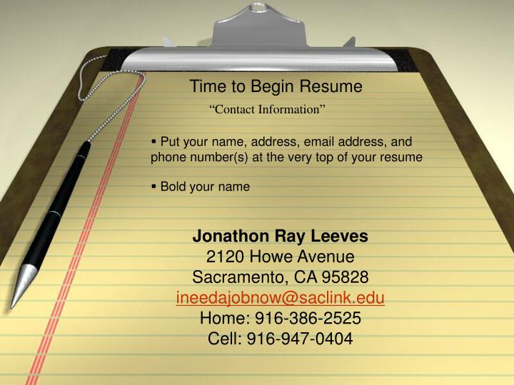 Time to Begin Resume