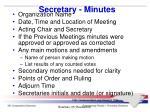 secretary minutes