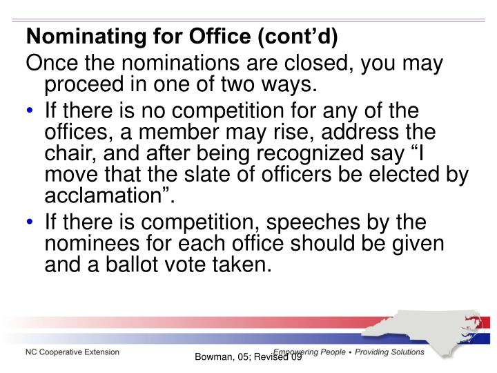 Nominating for Office (cont'd)