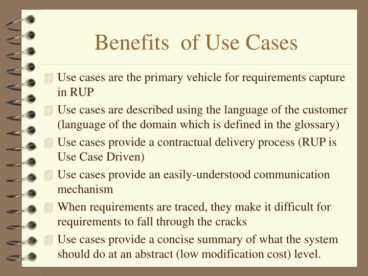 Benefits  of Use Cases