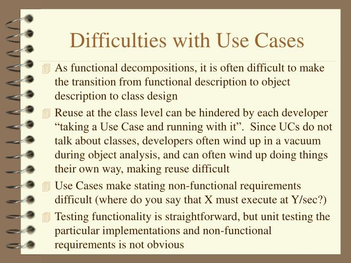 Difficulties with Use Cases
