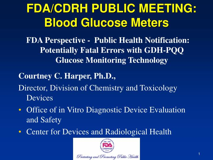 Fda cdrh public meeting blood glucose meters