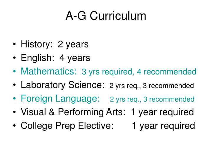 A-G Curriculum
