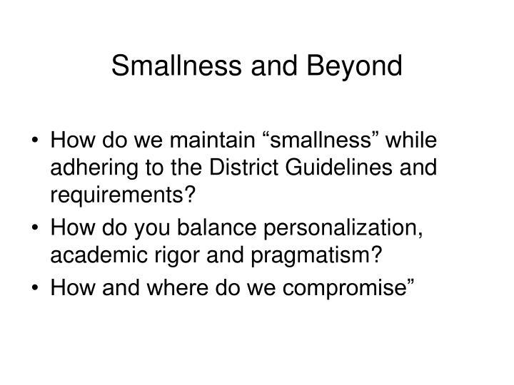 Smallness and Beyond