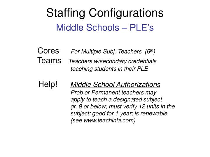 Staffing Configurations