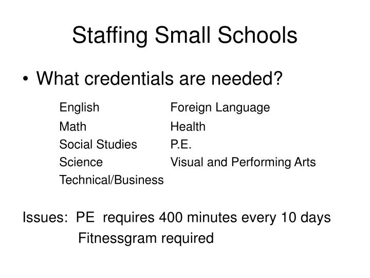 Staffing Small Schools