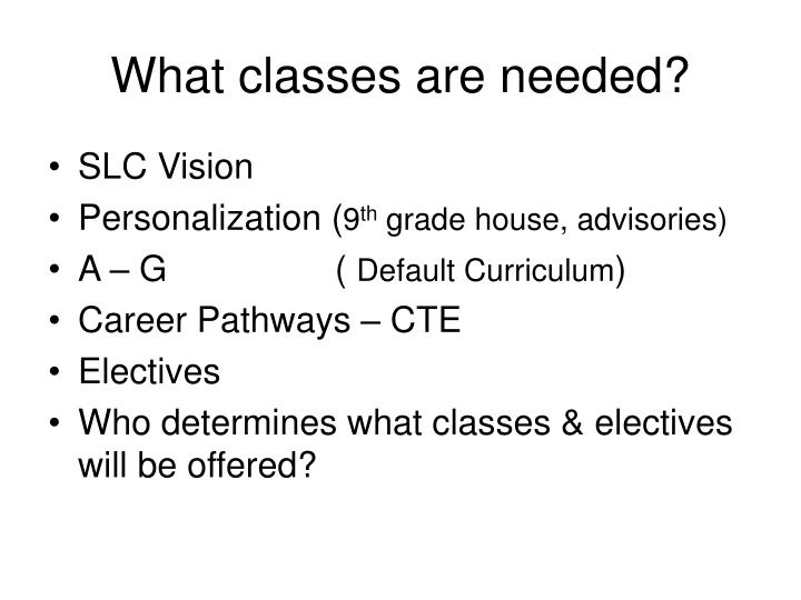 What classes are needed?