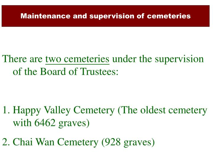 Maintenance and supervision of cemeteries