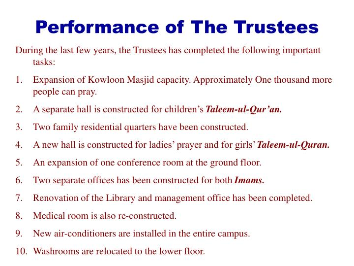 Performance of The Trustees